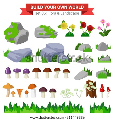 Flat style flora landscape environment stone flower mushroom moss bush grass nature objects icon set. Build your own world collection. - stock vector
