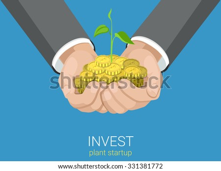 Flat style grow business investment concept web infographics vector illustration. Growing plant in hands handful coins. Creative people collection. - stock vector