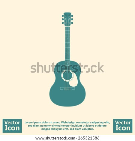 Flat style guitar  icon - stock vector