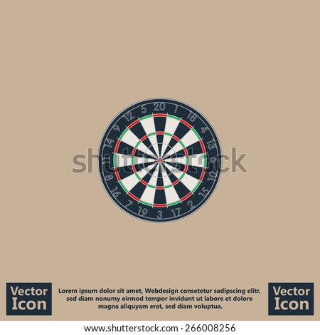 Flat style icon with dart board symbol - stock vector