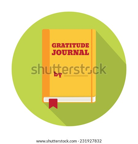 Flat Style Icon with Long Shadow. A gratitude journal. Concept for education, training courses, self-development and how-to articles - stock vector