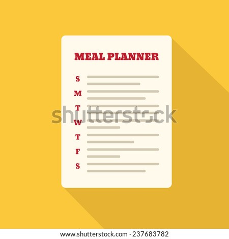 Flat Style Icon with Long Shadow. A meal planner. Concept for healthy lifestyle education, training courses, self-development and how-to articles - stock vector