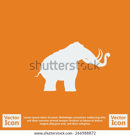 Flat style icon with mammoth symbol - stock vector