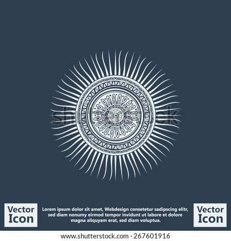 Flat style icon with mayan sun symbol - stock vector