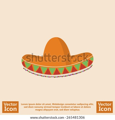 Flat style icon with Mexican sombrero hat symbol - stock vector