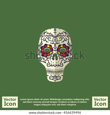 Flat style icon with sugar skull mexican mask symbol - stock vector