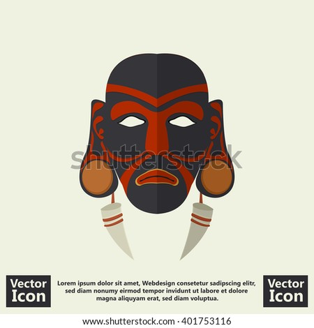 Flat style icon with tribal mask symbol - stock vector