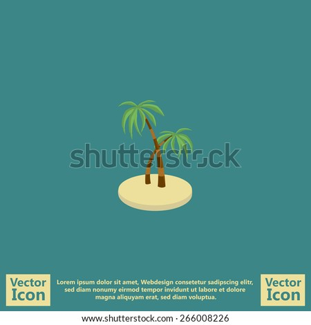 Flat style icon with tropical ocean island with palm trees symbol - stock vector