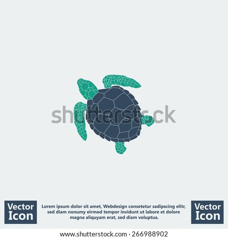 Flat style icon with turtle symbol - stock vector