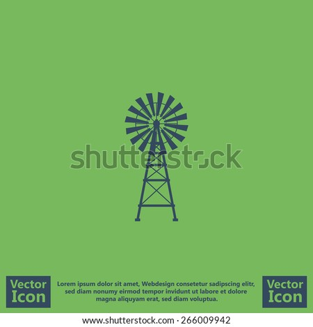 Flat style icon with windmill symbol  - stock vector