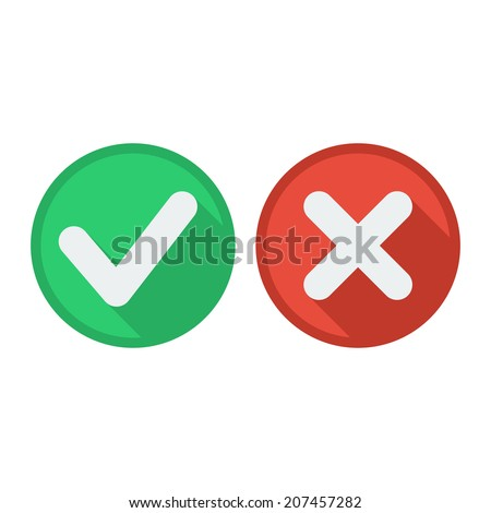 Flat style icons with long shadow. Delete & tick or check and cross marks  - stock vector