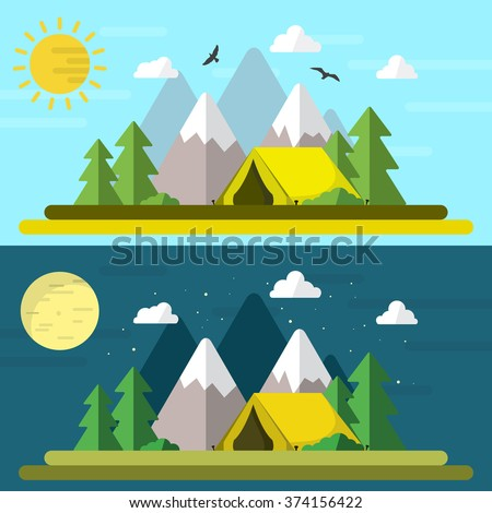 Flat style illustration of a camping landscape / At morning / At night / Minimal design - stock vector