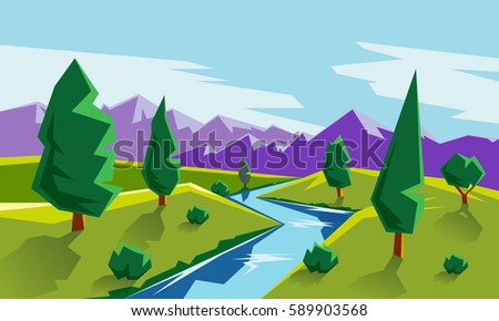 Flat style landscape illustration with valley, mountains and river. Cartoon geometric landscape scene.
