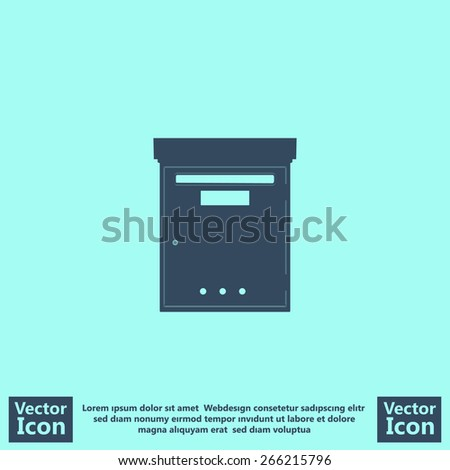 Flat style mail box icon - stock vector