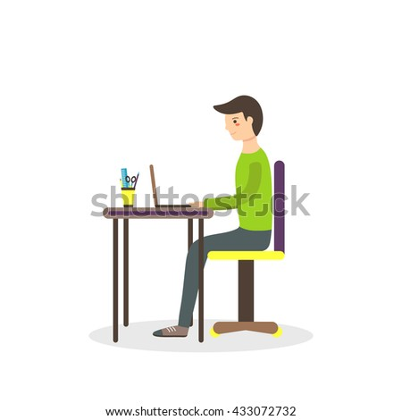 Flat style man, student sitting on the chair with laptop on the table and writing his dissertation. Background with typing boy