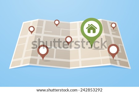 Flat style map with gps pointers with big home icon in the city. Layered vector illustration EPS 10 file.