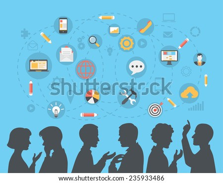 Flat style modern business people silhouettes brainstorming, meeting, gossip, social media content concept web vector. Talking couples businessman businesswoman and icon set collage. - stock vector
