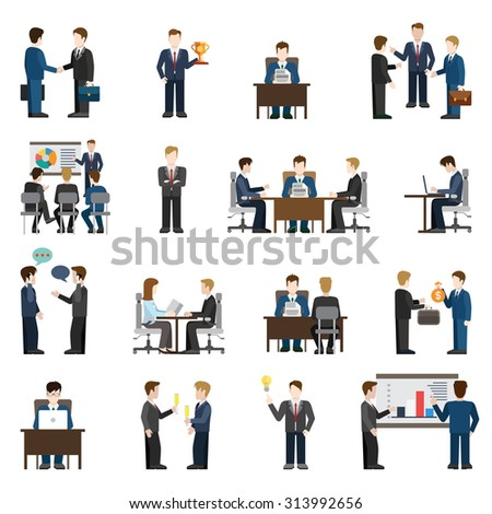 Flat style modern business situations businessmen people big icon set. Meeting success report training manager operator chat investment support discussion session idea workplace reception negotiations - stock vector