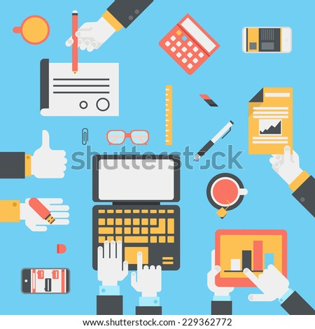 Flat style modern business technology desktop with hands laptop tablet touch screen smart phone reports USB drive contract icon set. Project management concept. Workplace table top view infographic. - stock vector