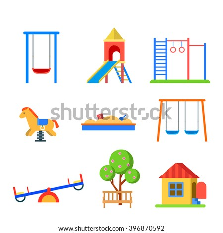 Flat style modern children playground icon set. Slide seesaw wall bars sandbox bench spring wooden horse. Childhood parenting collection. - stock vector