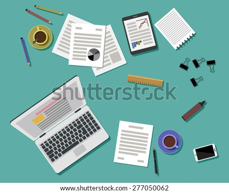 Flat Style Modern Design of Office Workplace. Icons set of business work flow items and gadgets. Working or studying concept. Top view. Vector Illustration - stock vector