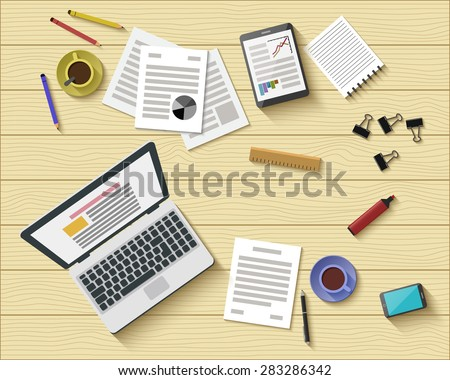 Flat Style Modern Design of Office Workplace. Icons Set of Business Work Flow Items and Gadgets. Working or Studying Concept. Top View. Vector Illustration