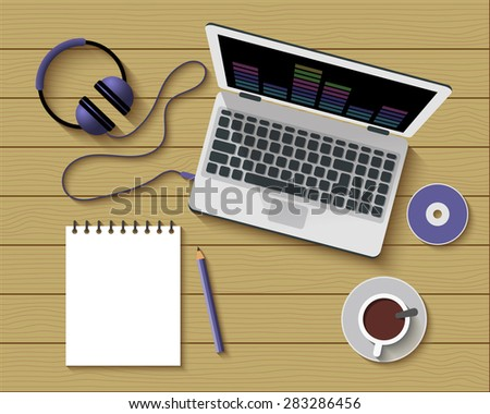 Flat Style Modern Design of Office Workplace. Vector Illustration. Top View of a Table with Note Paper, Laptop, Headphones and Coffee Cup. Working or studying concept