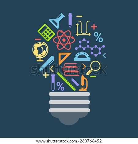 Flat style modern education science lab idea startup innovation light bulb infographic concept. Conceptual web illustration of lamp consist of learning object icons. Scientific objects icon collage. - stock vector