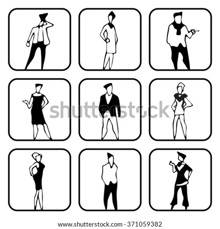 Flat style modern people in casual clothes icons situations web template infographic vector icon set. Men women fashion lifestyle icons. Black white, young, businessman and teacher, hipster sexy beast - stock vector
