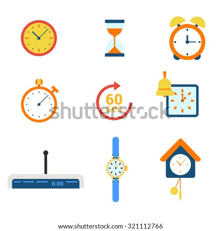 Flat style modern time clock alarm schedule notification appointment measure web app concept icon set. Timer watch mechanical electronic coo-coo hourglass stopwatch. Website icons collection. - stock vector