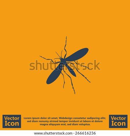 Flat style mosquito icon - stock vector