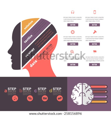 Flat Style Multicolor Graphic Human Head Business Concept Vector Infographics  - stock vector