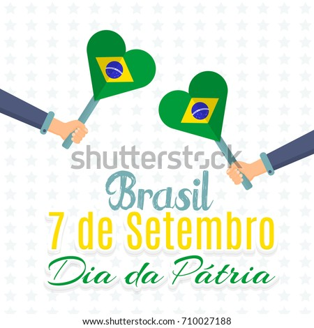 Flat style national greeting card design stock vector 710027188 flat style national greeting card design portuguese text brazil september 7 independence m4hsunfo