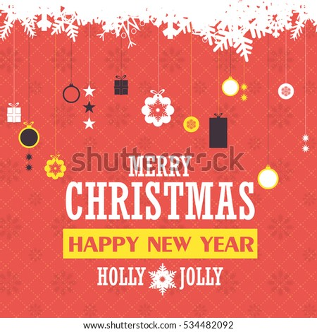 Flat Style Postcard with Happy New Year Celebration Design. Greeting Card Design, Vector Hanging Christmas Elements Red Colors Background or Flyer, Poster, Web Banner Template