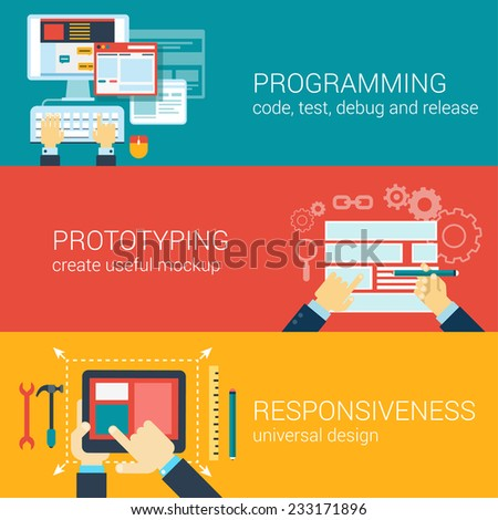 Flat style process programming, prototyping, responsiveness infographic concept. Code writing, mockup, adaptive design web site icon banners templates set. Website conceptual flat vector collection. - stock vector