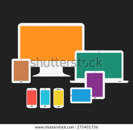 Flat style responsive webdesign technology mock-up - stock vector