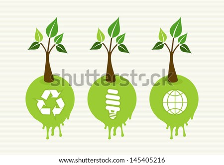 Flat style save the Earth tree idea with icons set. This illustration is layered for easy manipulation and custom coloring - stock vector