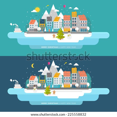 Flat Style Snowing Town Vector. Set for Winter and Xmas Holidays Design. Christmas Tree and Snowman. Winter Icons. - stock vector