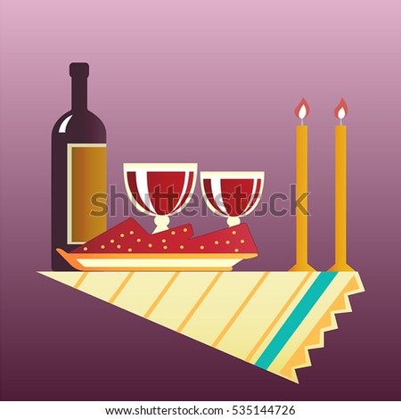 Flat style table for two with cloth, glasses, bottle of wine and two burning candles. Vector illustration .