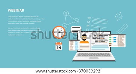 Flat style template design for online webinar, online education, distant education technology concept. Usable for web banner, wed sites, printed materials, infographics - stock vector