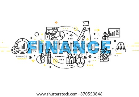 Flat Style, Thin Line Art Design. Set of application development, web site coding, information and mobile technologies vector icons and elements. Modern concept vectors collection. Finance Concept - stock vector