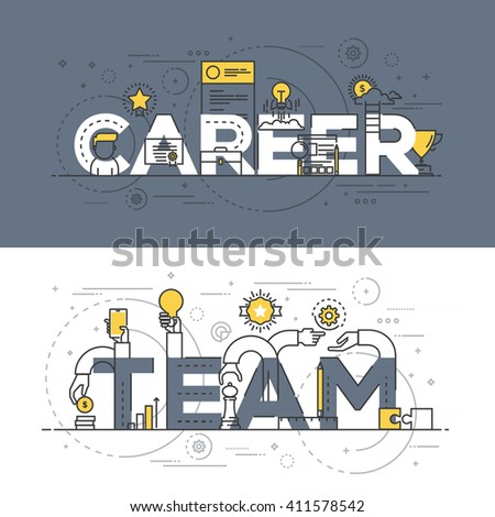 Flat Style, Thin Line Banner design of Career and Team, Colors, Drawing, vision, etc. Modern concept. Vector Illustartion - stock vector