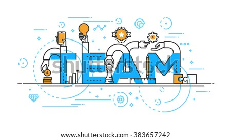 Flat Style, Thin Line Banner design of Team work, Workflow, cooperation, Success, Management, etc. Modern concept. Vector Illustartion - stock vector