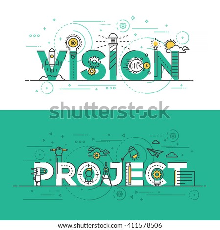 Flat Style, Thin Line Banner design of Vision and Project, Colors, Drawing, vision, etc. Modern concept. Vector Illustartion