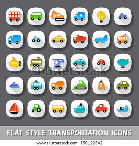 Flat style transportation icons - stock vector