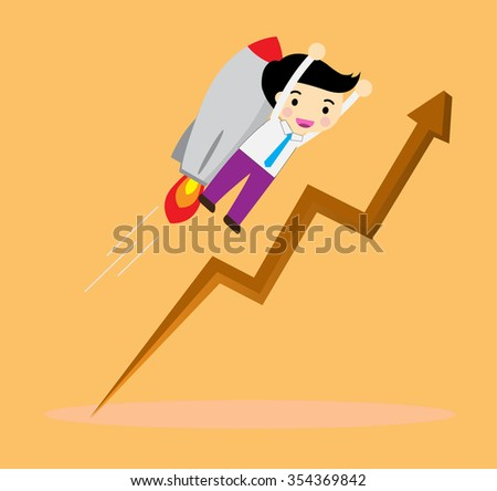Flat style vector businessman growth and start up concept, Businessman flying catch money