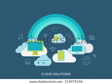 Flat style vector illustration cloud computing solutions technology concept collage. Rainbow clouds computer tablet storage media file. Big flat conceptual collection. - stock vector
