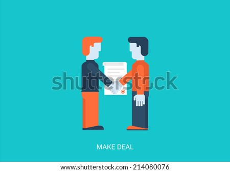 Flat style vector illustration contract make a deal concept. Two businessmen handshake contracting. Big flat conceptual collection. - stock vector