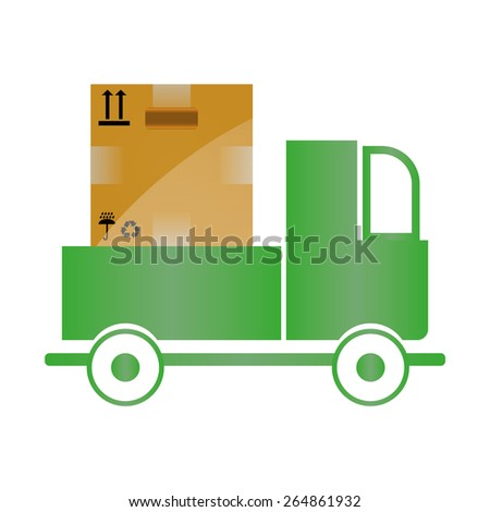 Flat style vector illustration delivery service concept. Abstract truck with open white box container and hourglass product item goods shop shipping.  - stock vector