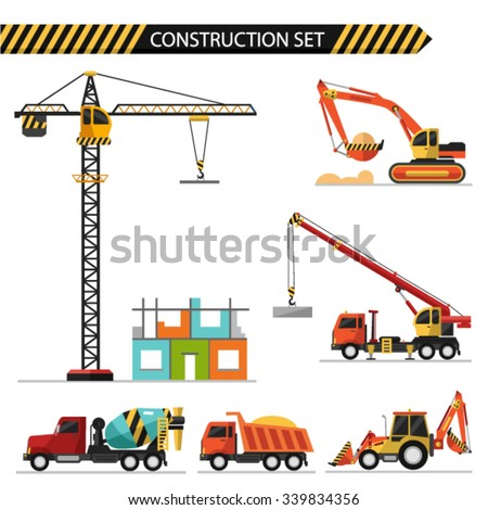 Flat style vector illustration of construction, isolated on white background. Including concrete mixer, truck crane, crane, bulldozer, excavator and truck car. - stock vector